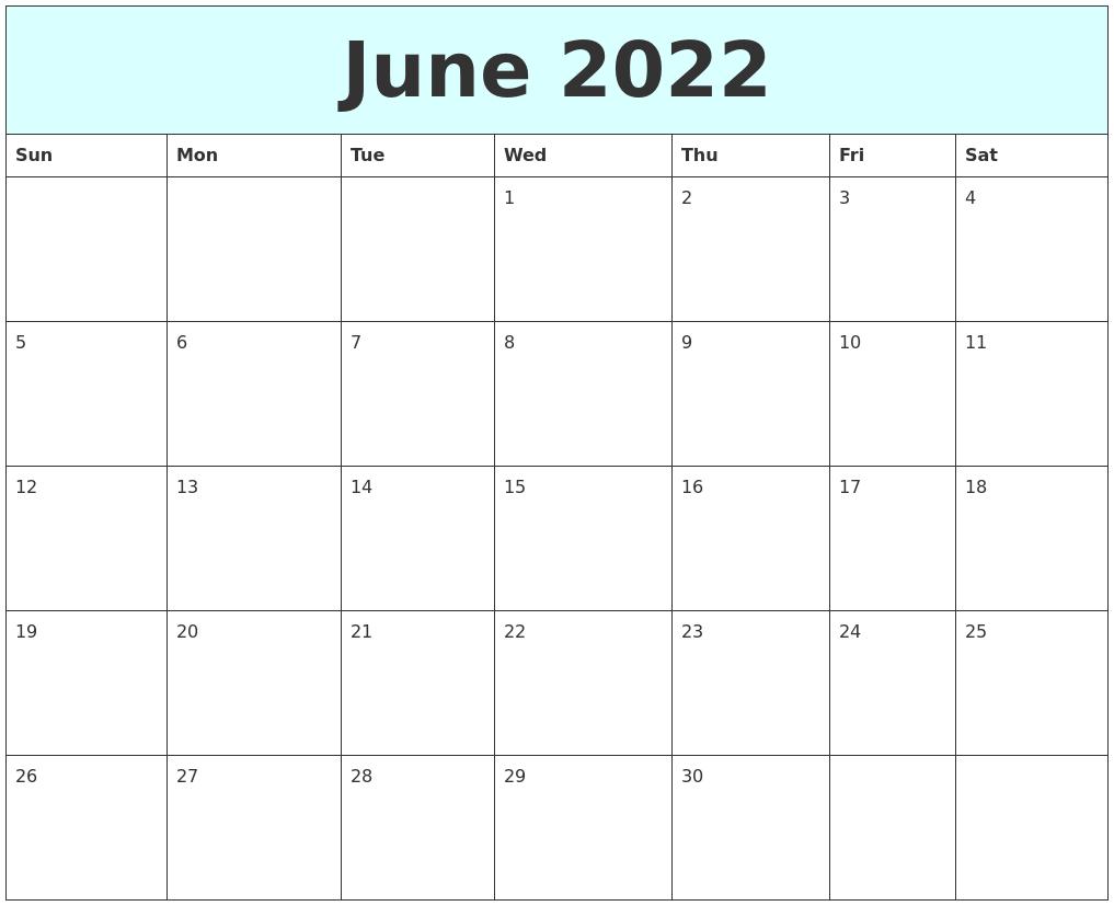 Calendar Typography Zoom : June free calendar