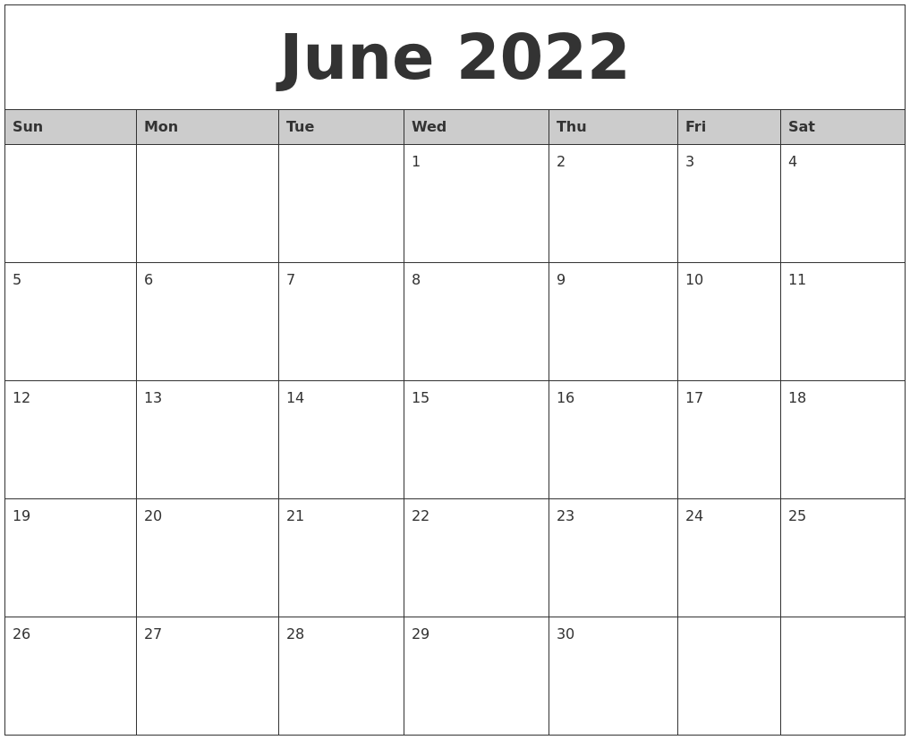 June 2022 Monthly Calendar Printable