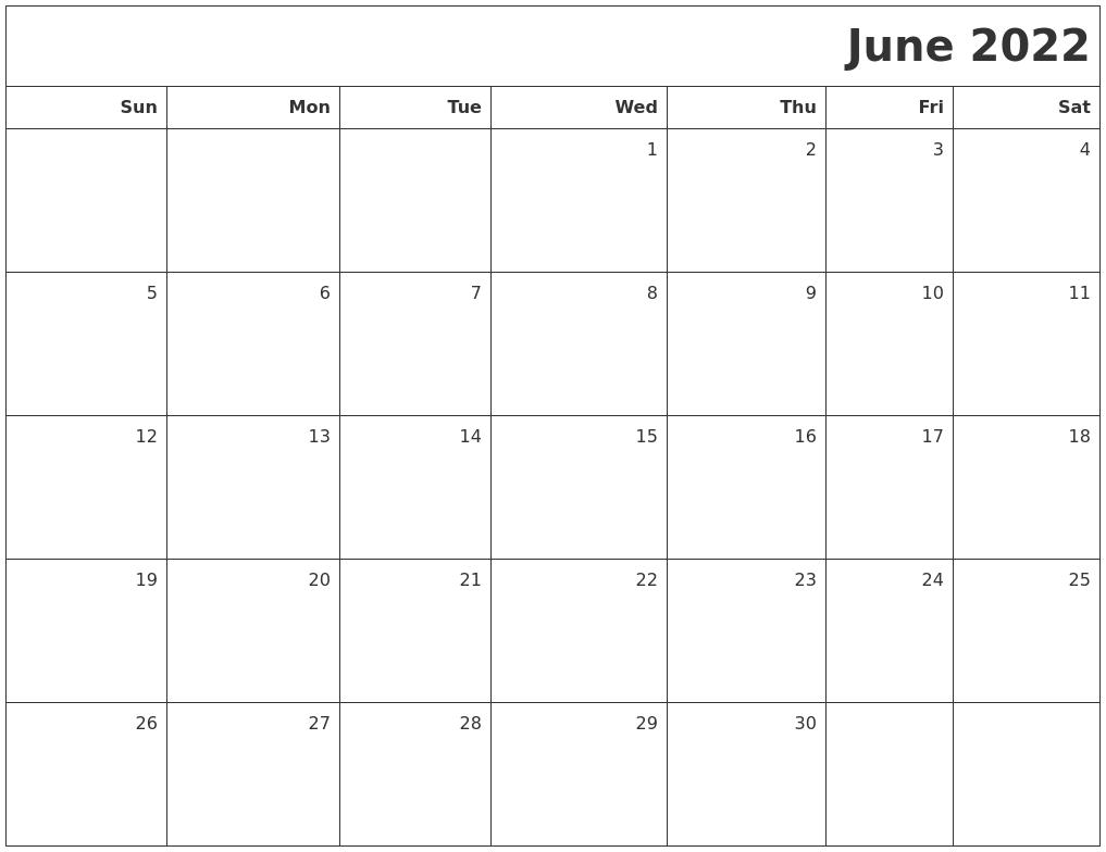 June 2022 Printable Blank Calendar