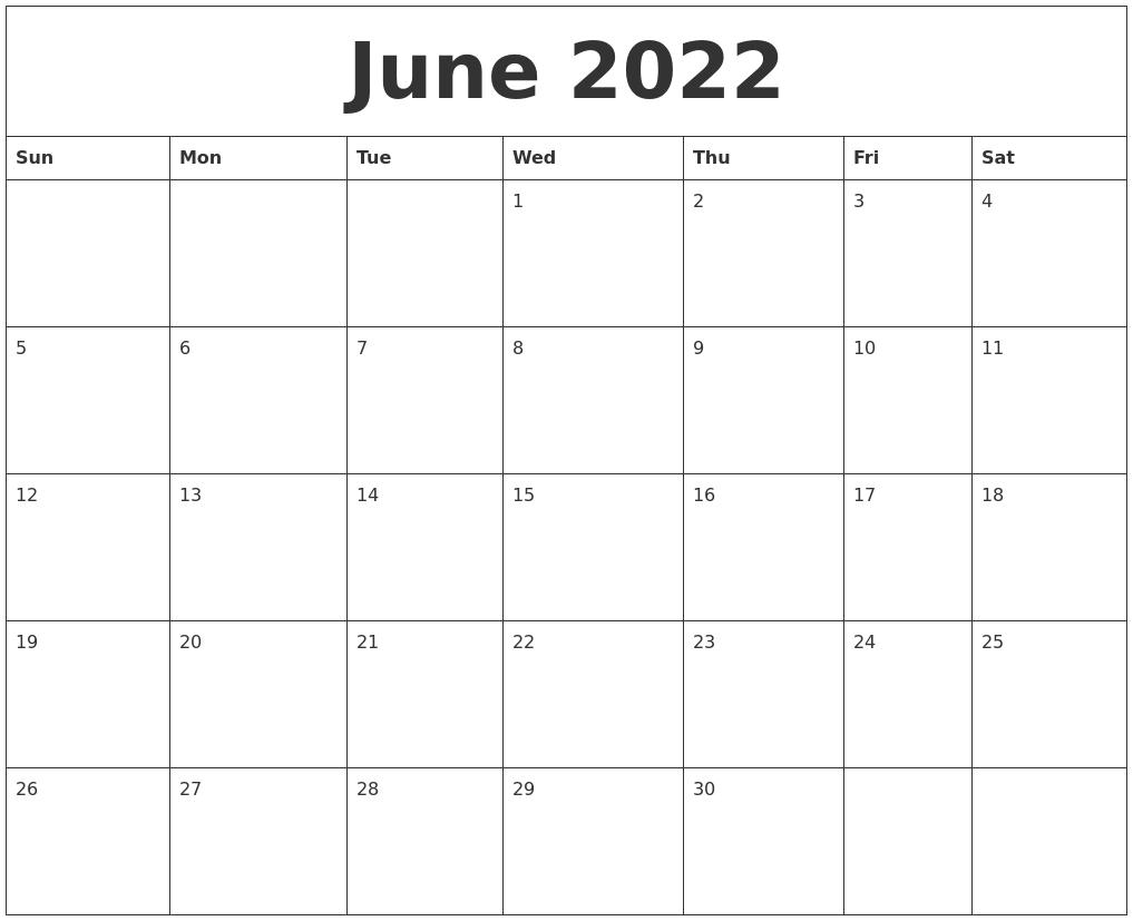June 2022 Printable Daily Calendar