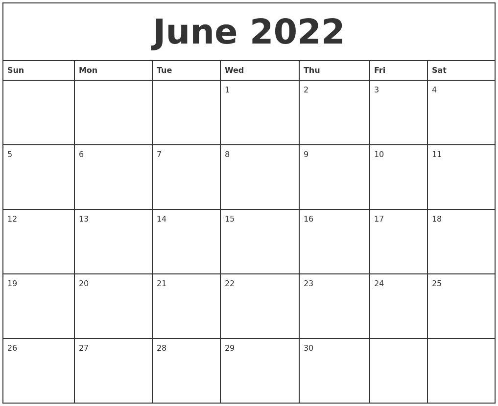 June 2022 Printable Monthly Calendar
