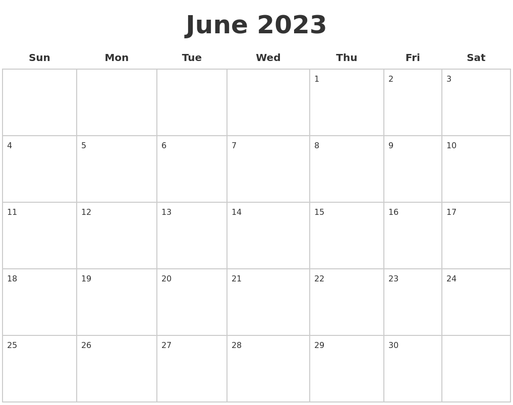 June 2023 Blank Calendar Pages