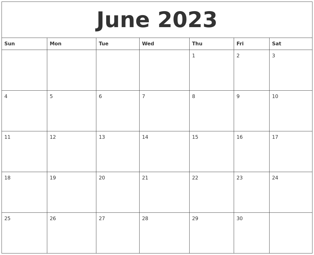 June 2023 Calendar Pages