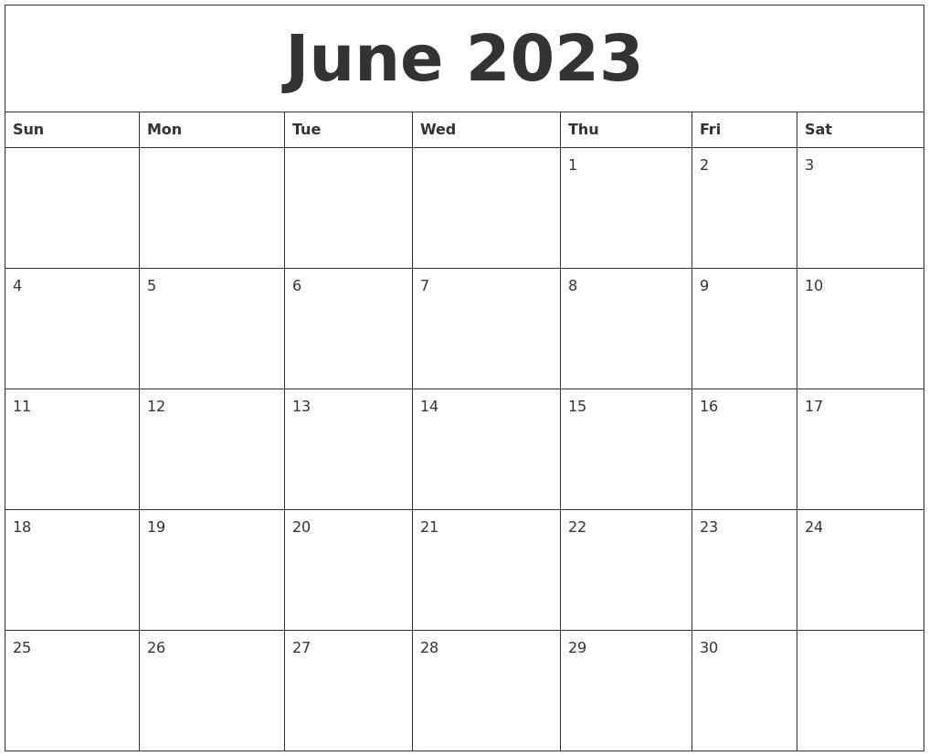 June 2023 Monthly Printable Calendar