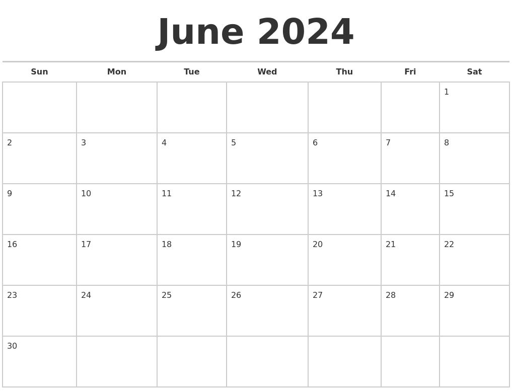 June 2024 Calendars Free
