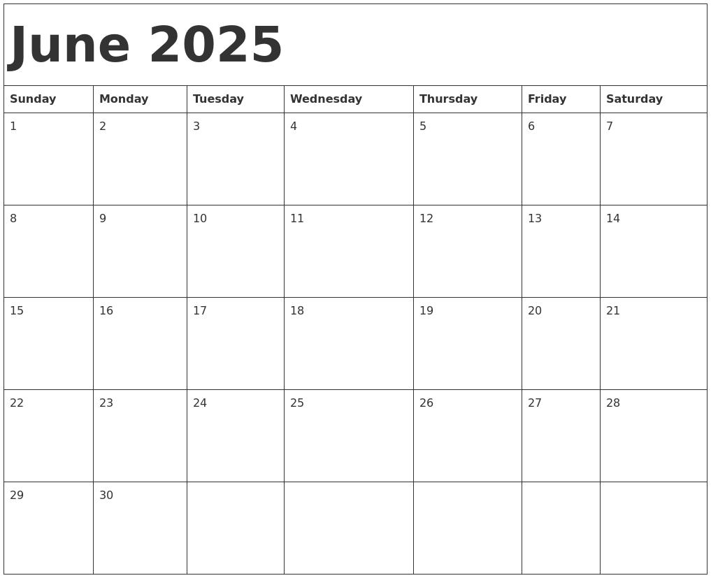 Calendar Template June