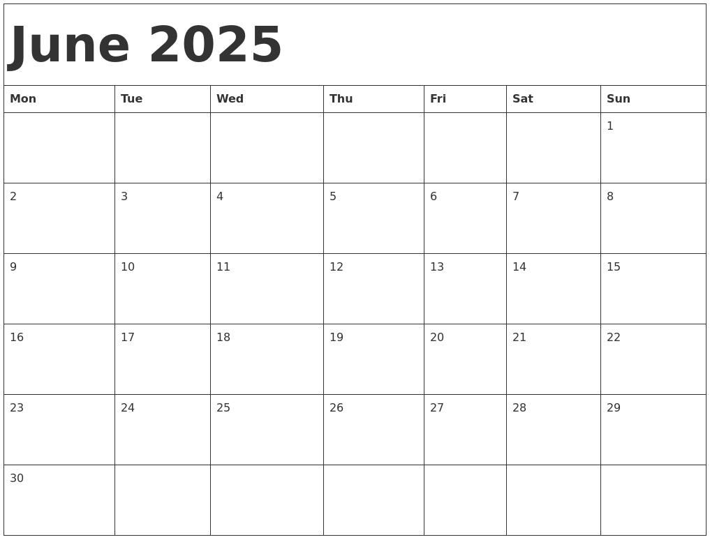 June 2025 Calendar Template