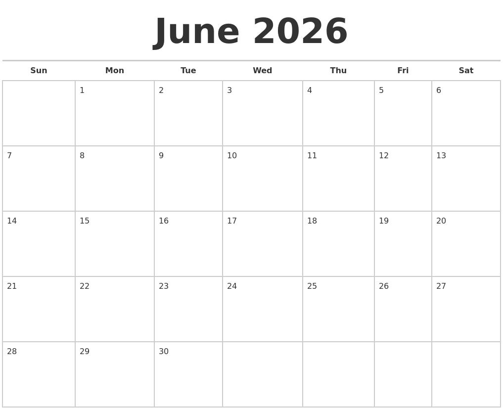 December 2026 Blank Monthly Calendar