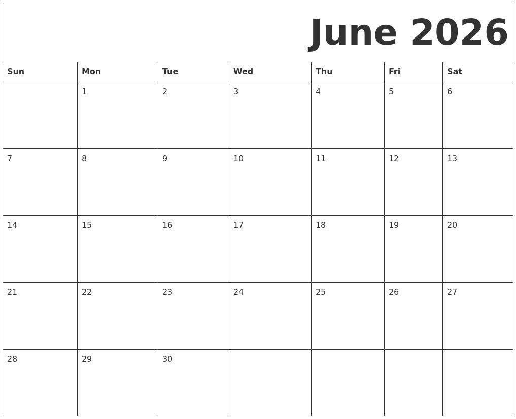 June 2026 Free Printable Calendar