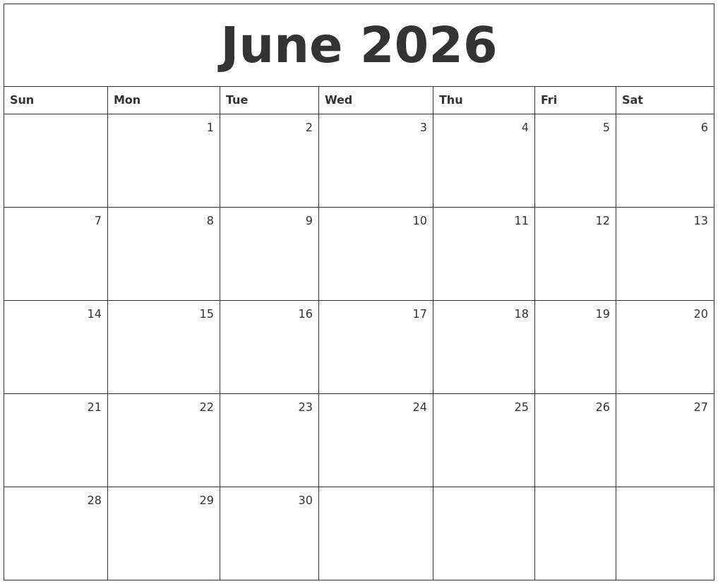 June 2026 Monthly Calendar