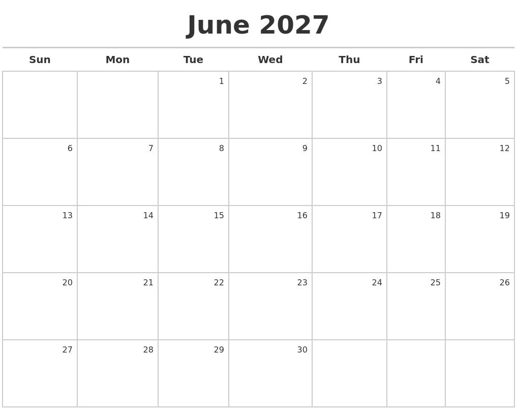 April 2027 Calendars Free