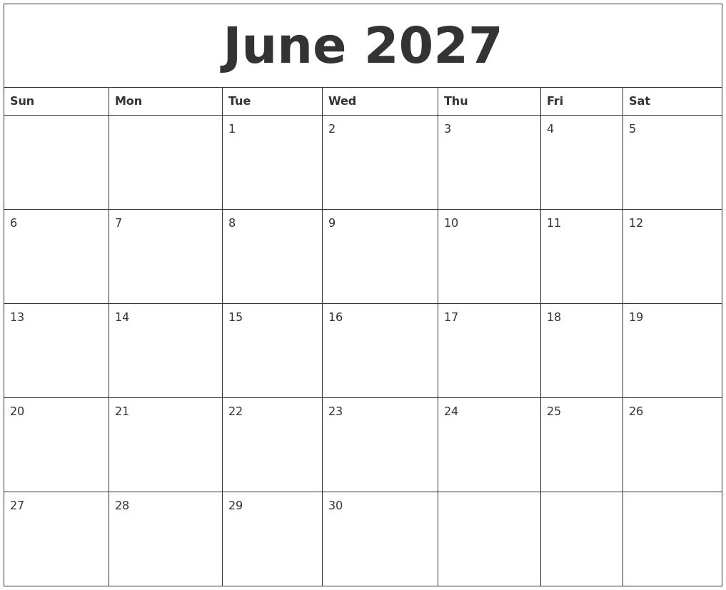 june 2027 calendar