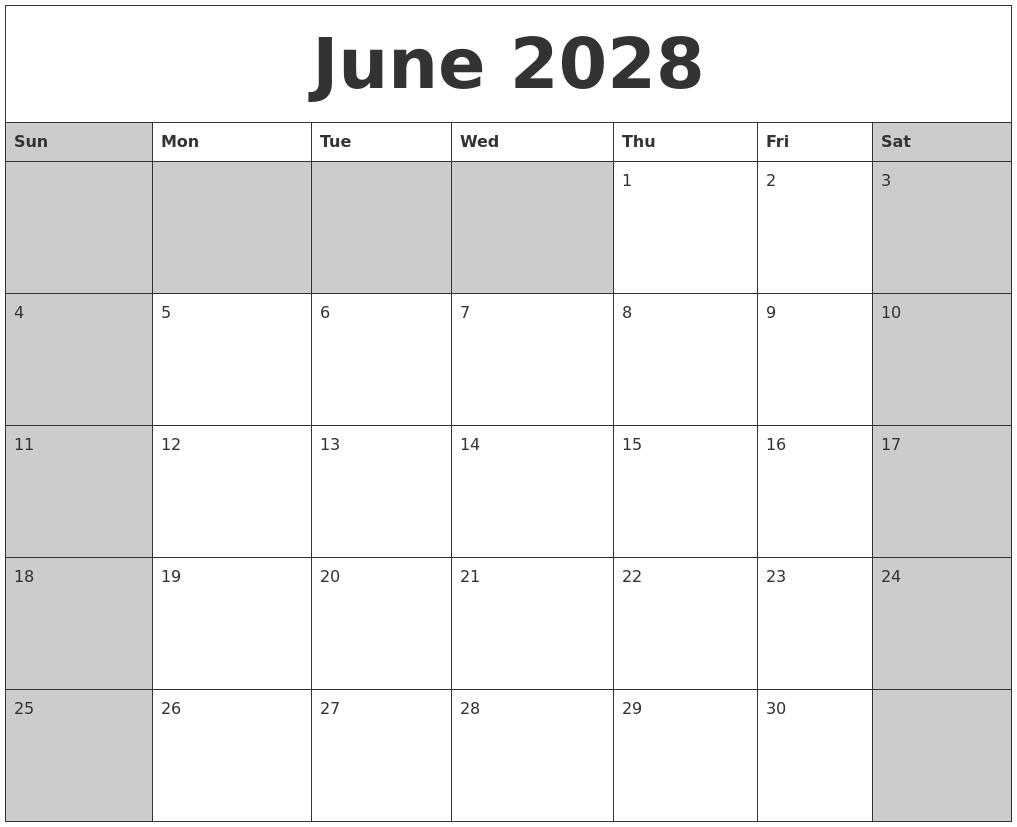 May 2028 Blank Printable Calendar