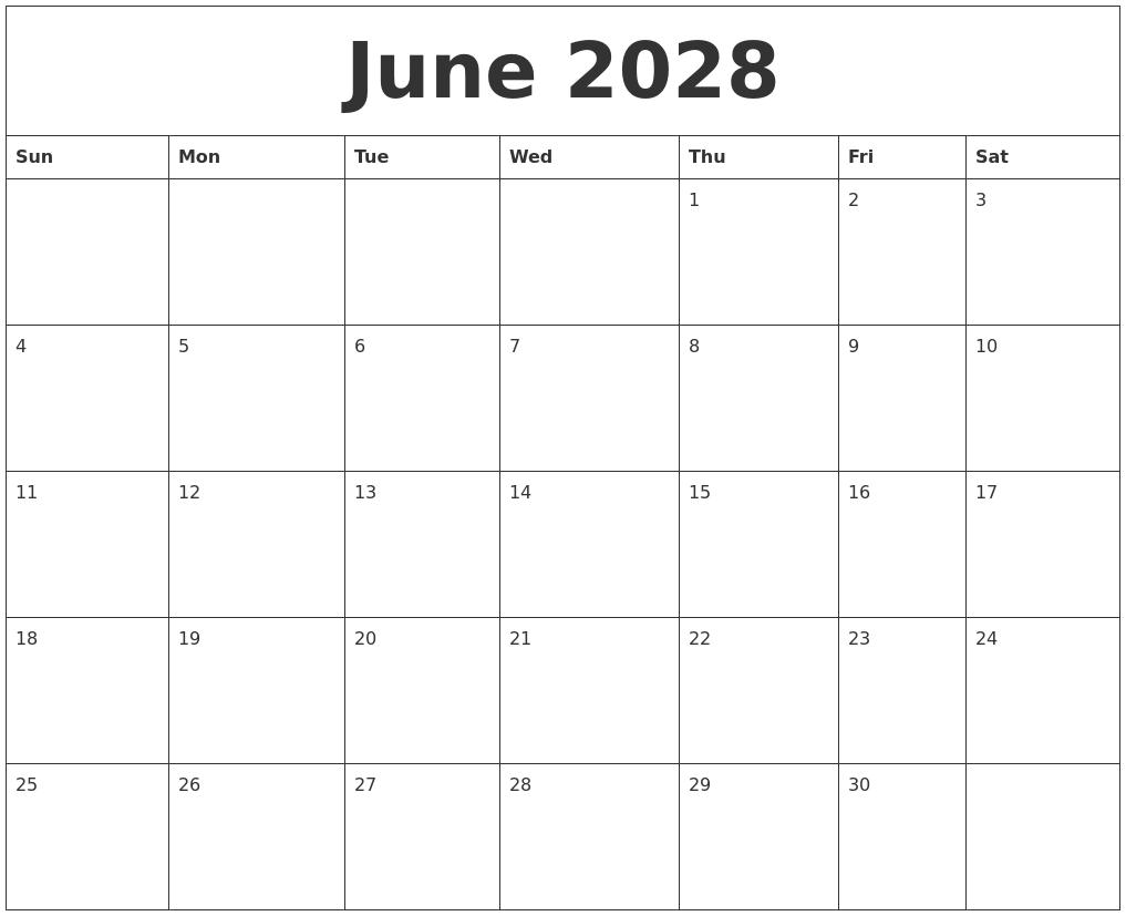 July 2028 Free Printable Calendar