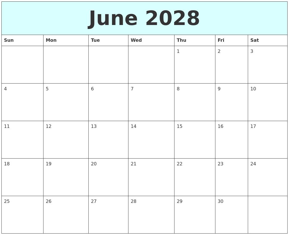 June 2028 Free Calendar