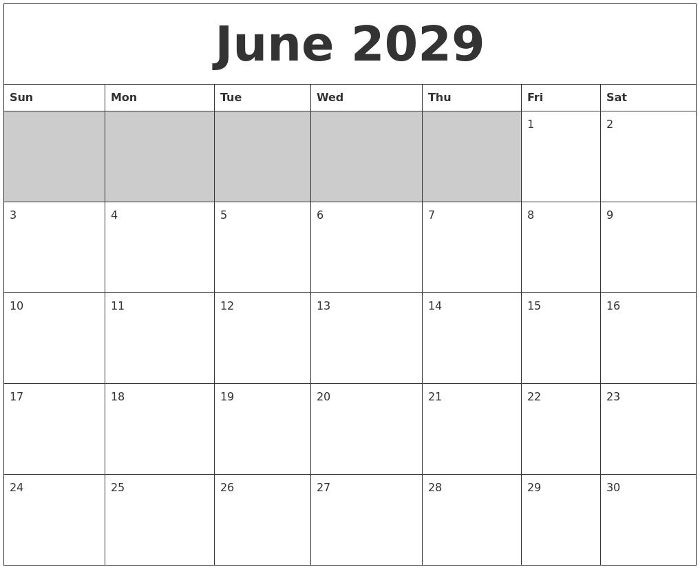 April 2029 Printable Calender