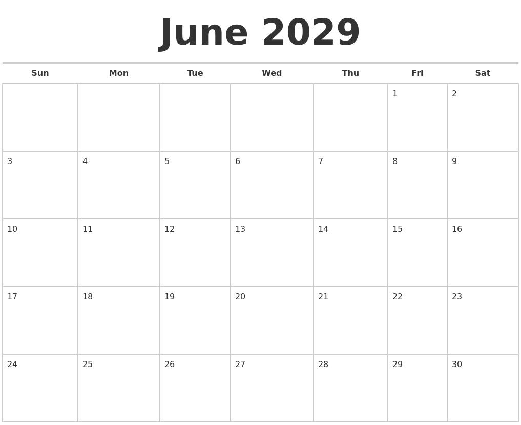 March 2029 Print Free Calendar