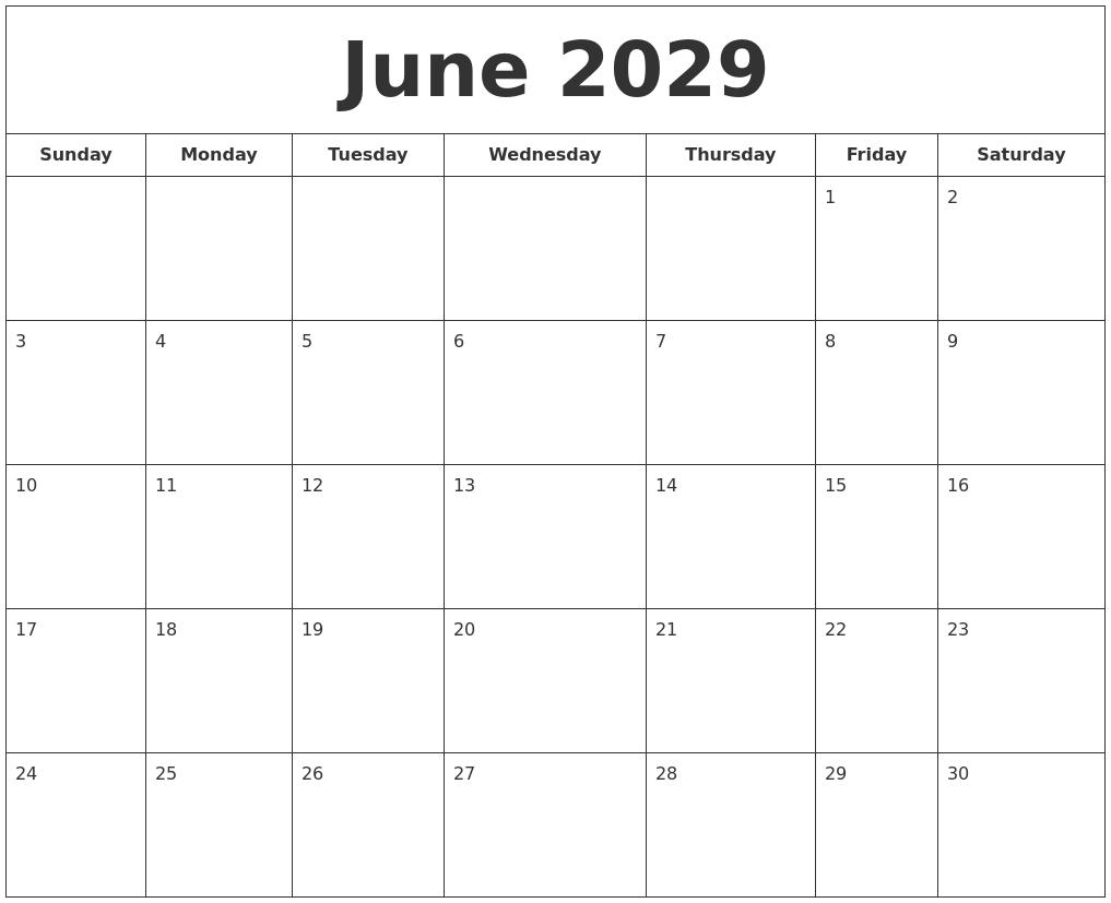 June 2029 Printable Calendar