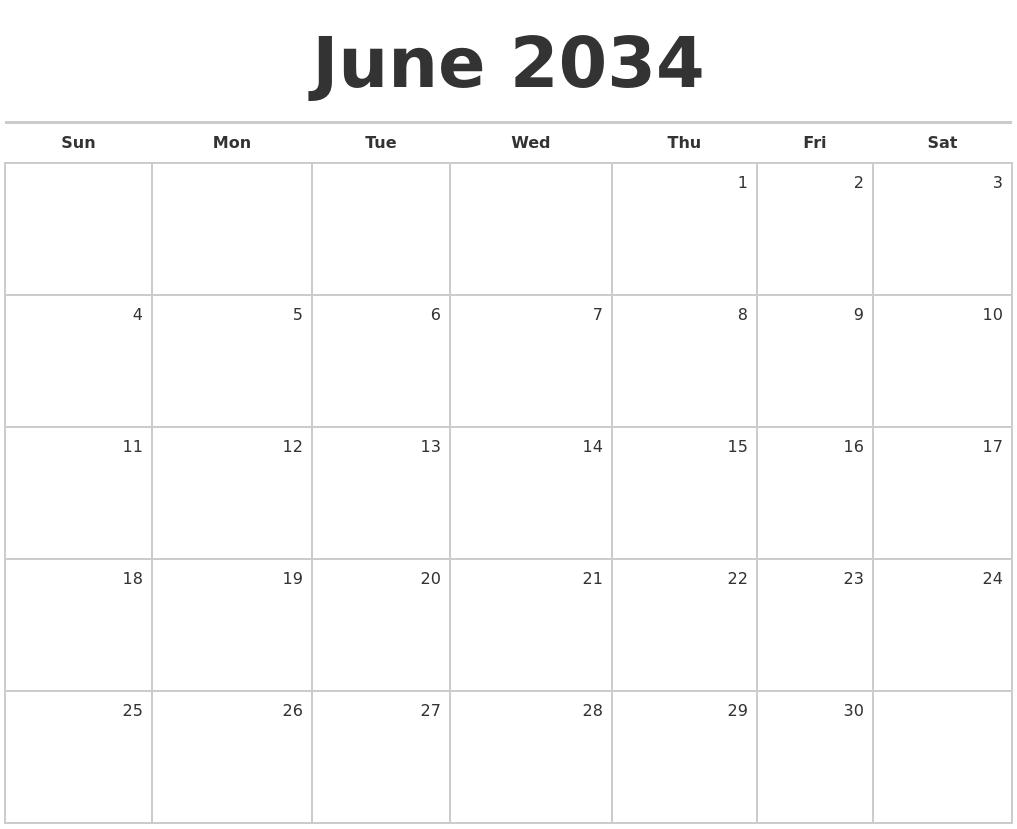 September 2034 Month Calendar