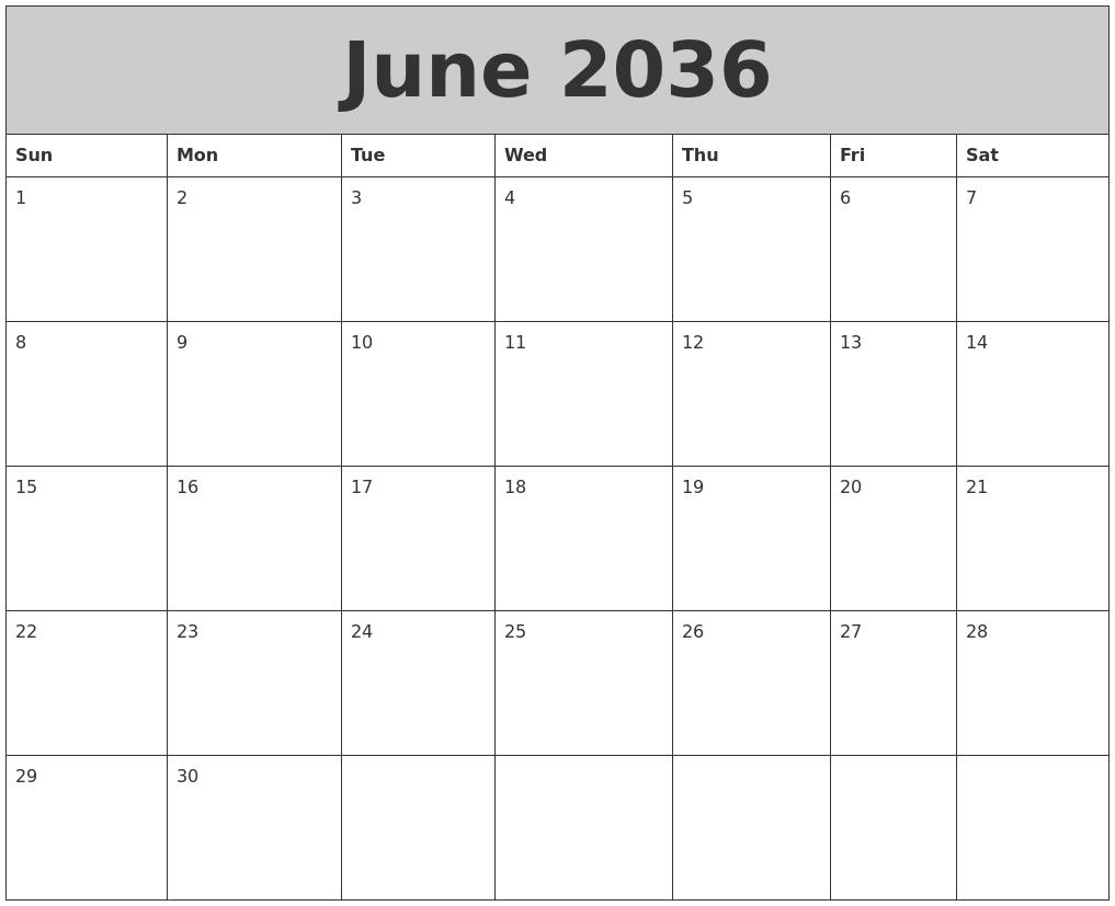 February 2036 Calendar Template