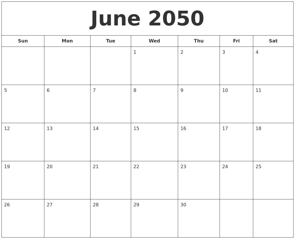 August 2050 Free Printable Calendar