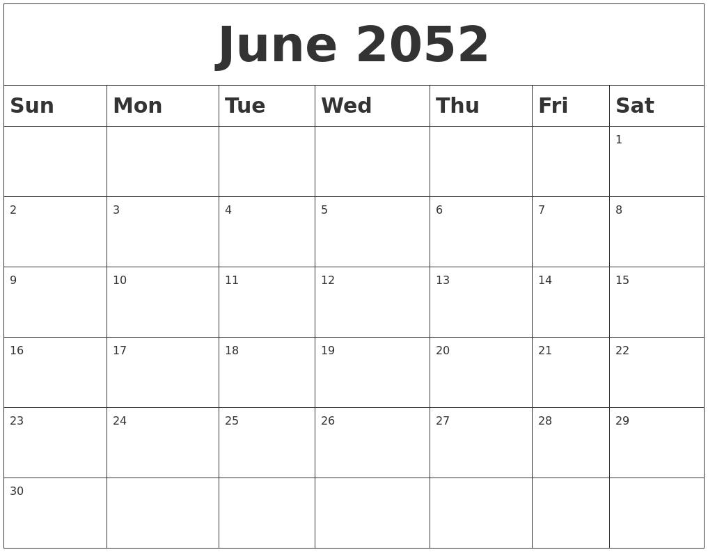 March 2052 Printable Calendar