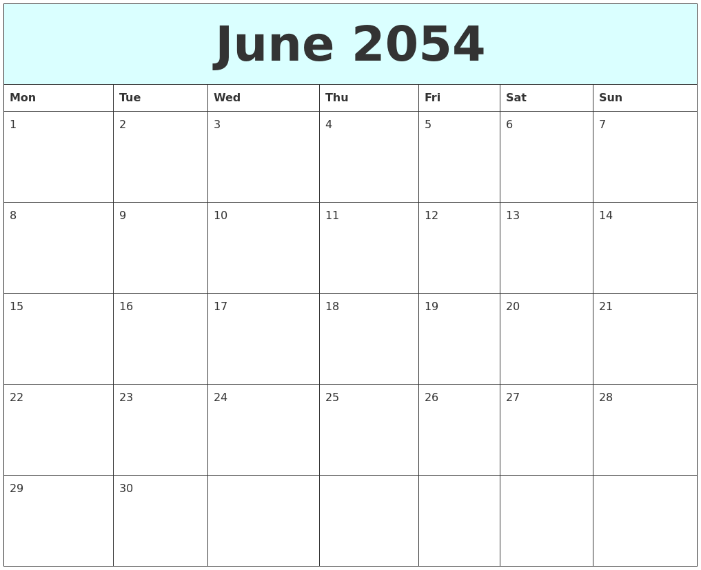 June 2054 Free Calendar