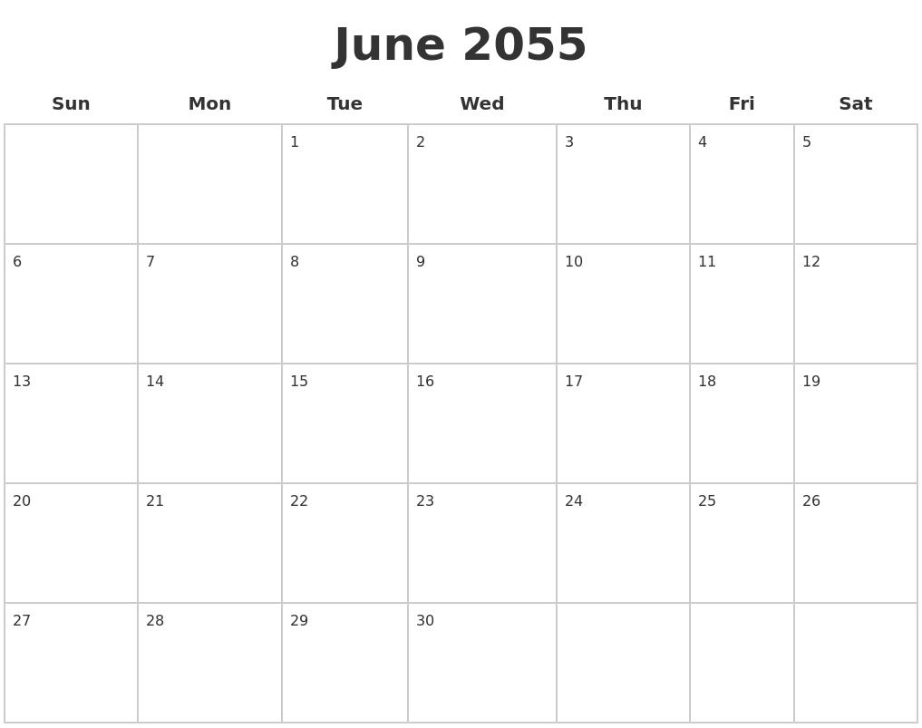 December 2055 Month Calendar