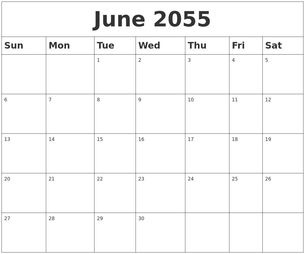 June 2055 Blank Calendar