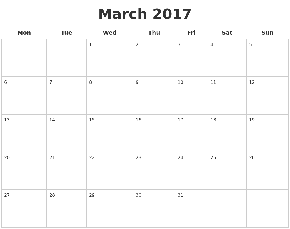 March 2017 Blank Calendar Pages PDF's