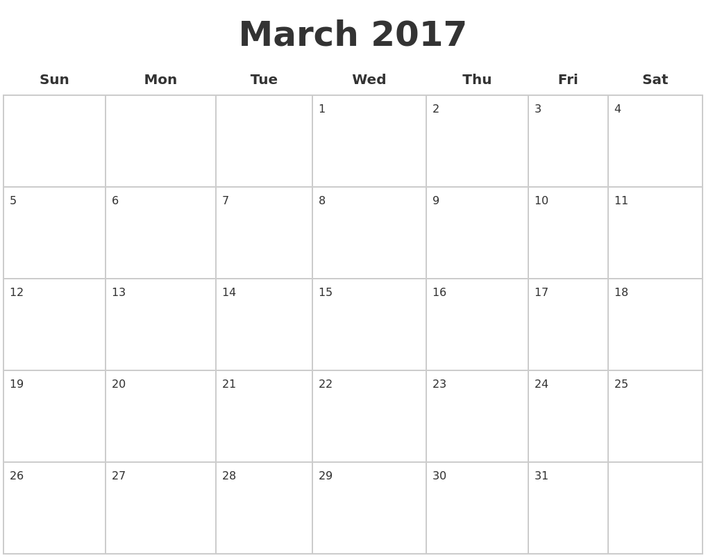 March 2017 Blank Calendar Pages