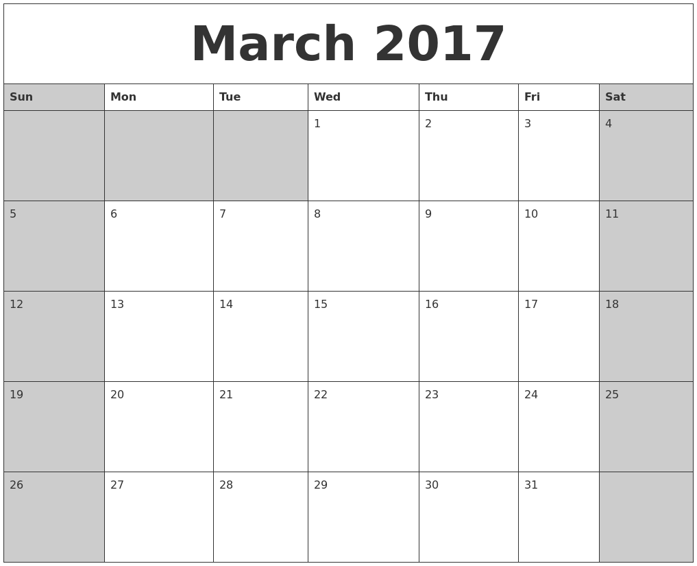 Calendar Typography Zoom : March calendars