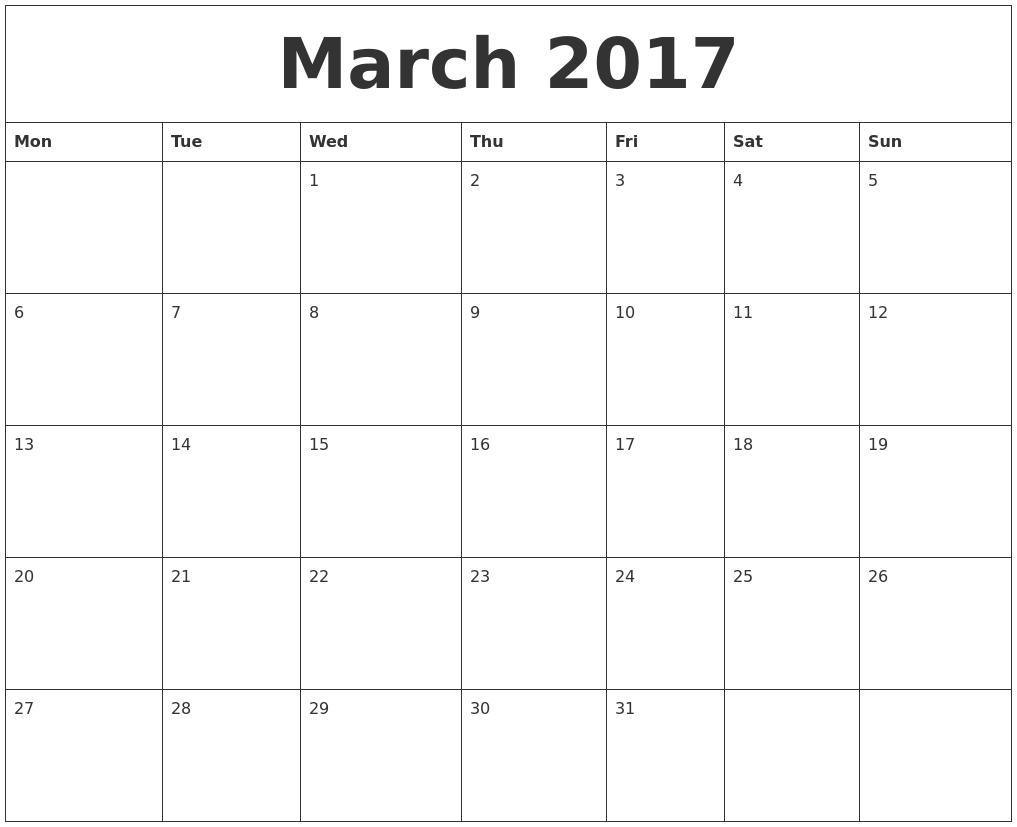 March 2017 Calendar Starting Monday | Free Calendars 2017