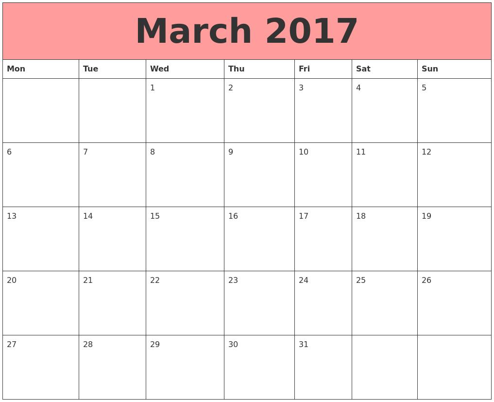 march calendar template 2017