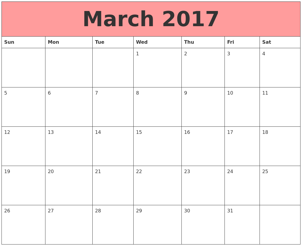March 2017 Calendars That Work