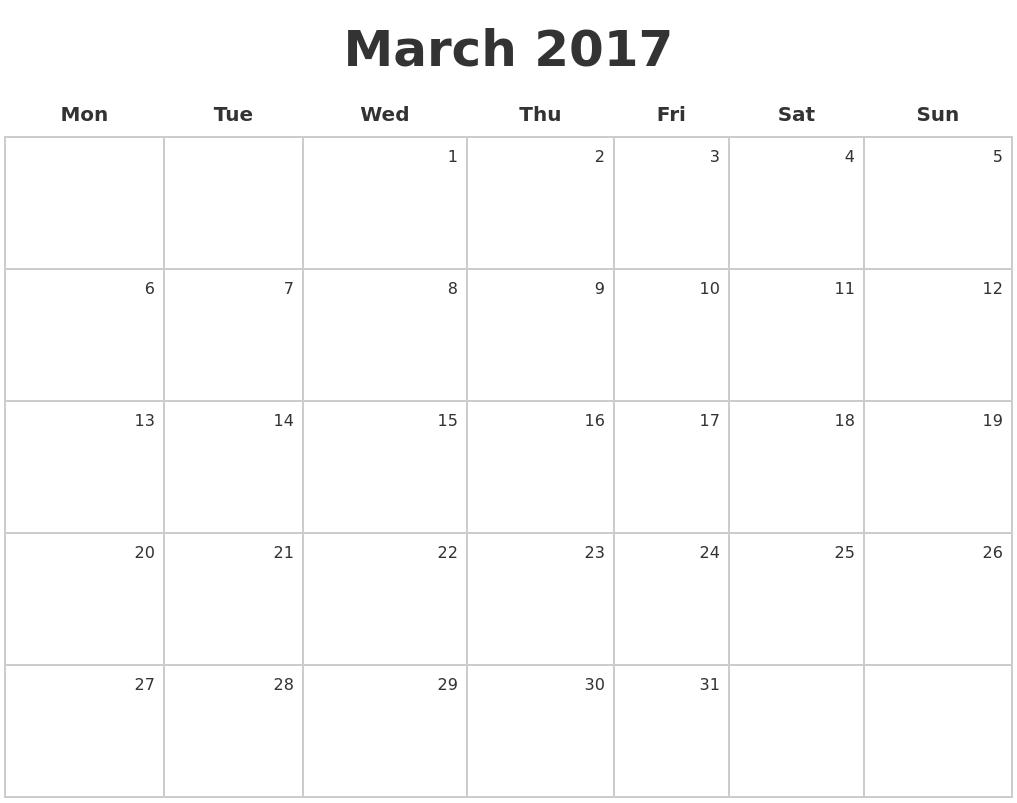 Calendar Monday Start : March make a calendar