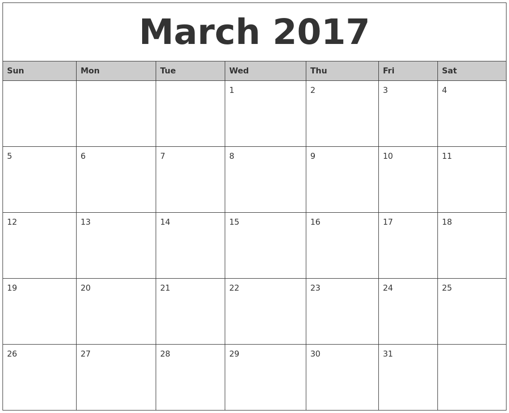March 2017 Monthly Calendar Printable