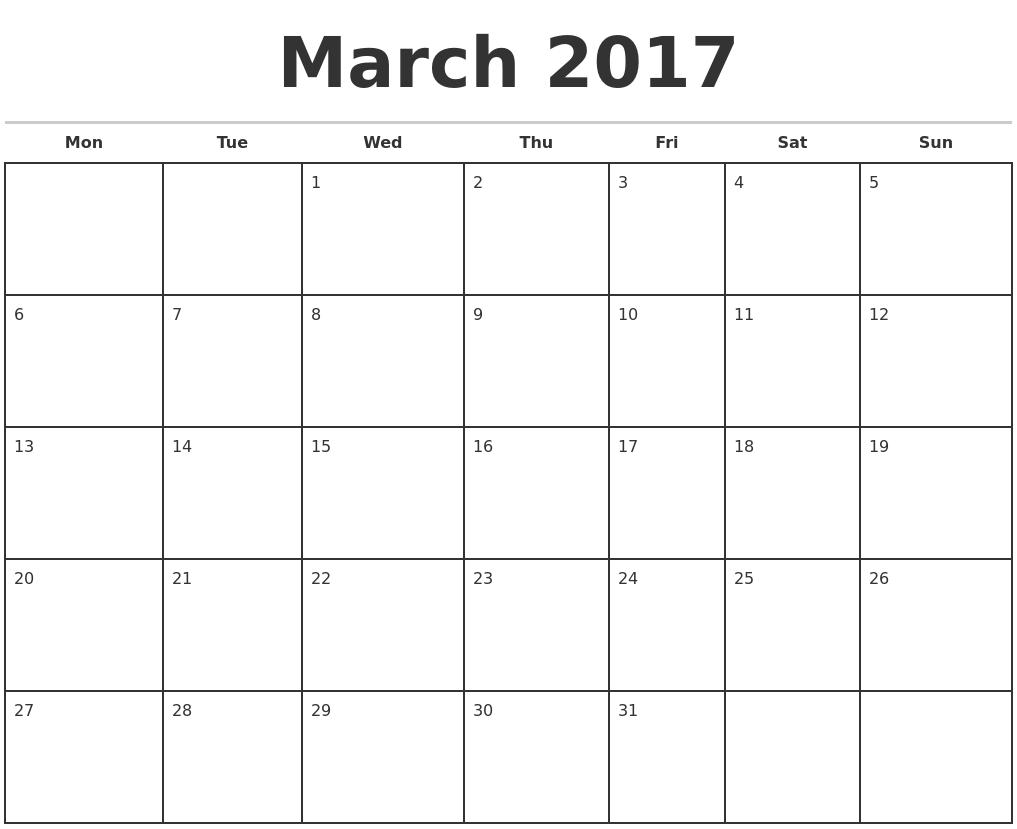 Monthly Calendar March Printable : March calendar printable foto bugil bokep