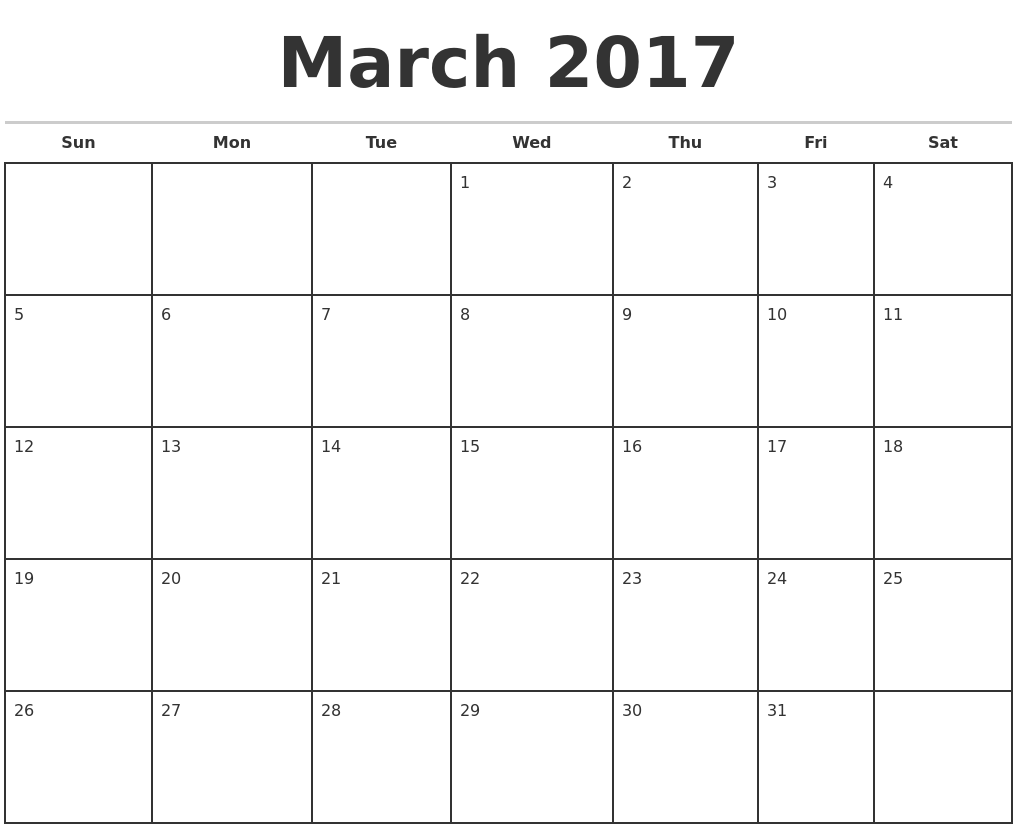 March 2017 Monthly Calendar Template