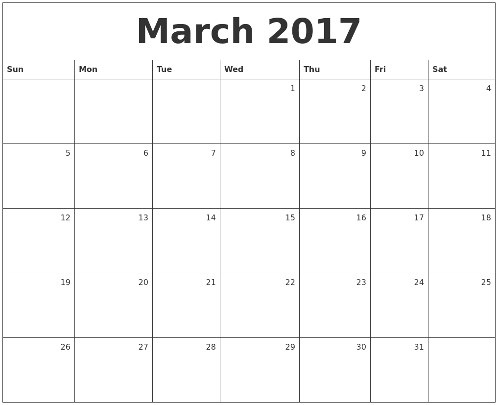 March 2017 Monthly Calendar