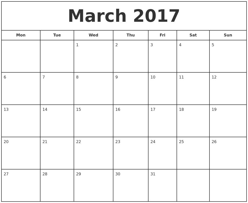 March 2017 Print Free Calendar PDF's