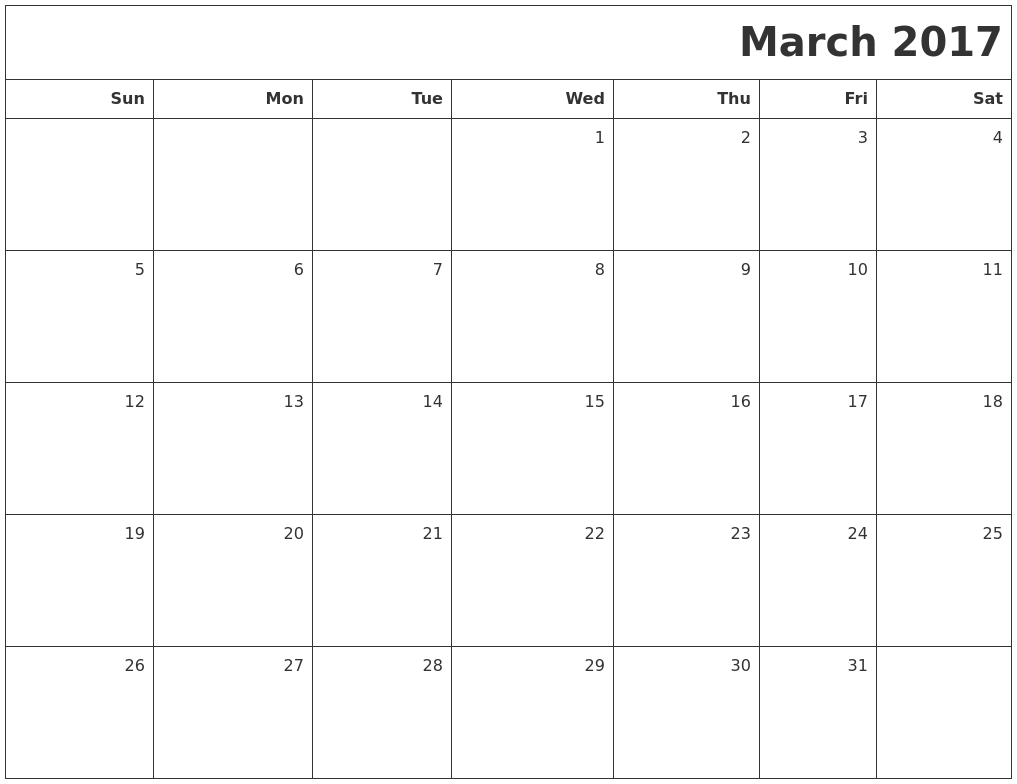 March 2017 Printable Blank