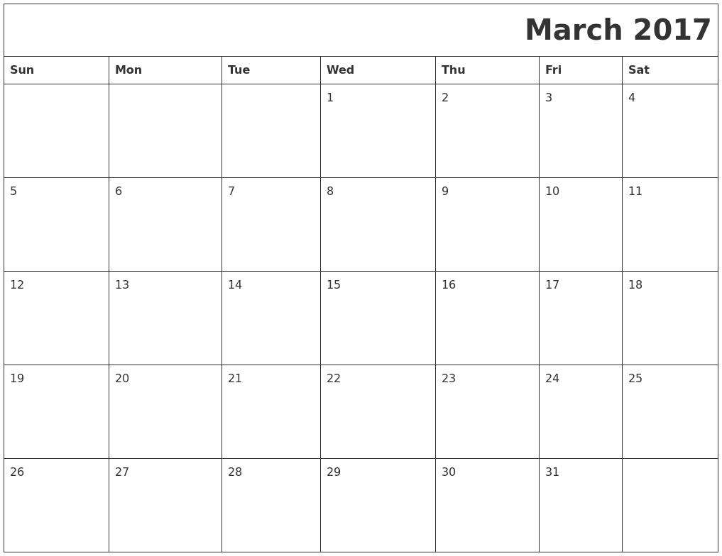 March 2017 Printable Calender