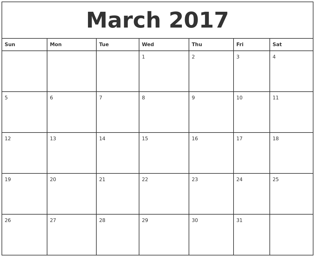 March 2017 Printable Monthly Calendar