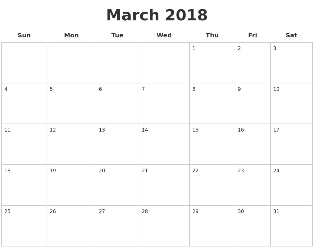 march 2018 blank printable calendar