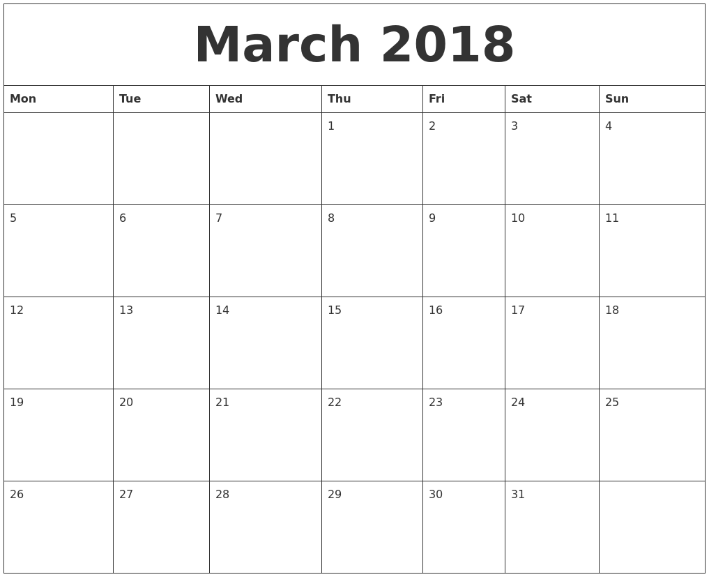 free printable blank calendar 2018