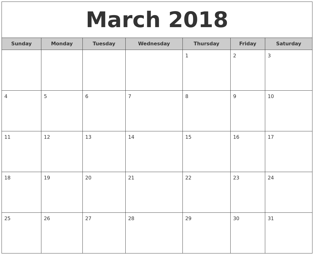 March 2018 Free Monthly Calendar PDF's