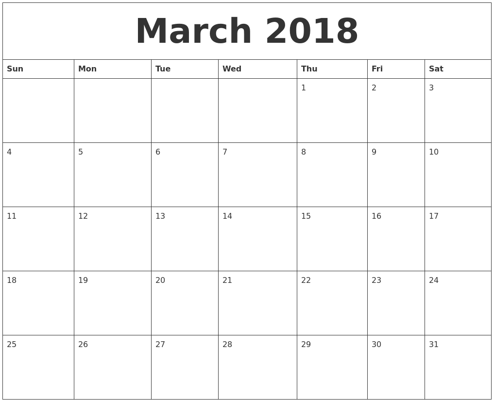 March 2018 Free Monthly Calendar Template