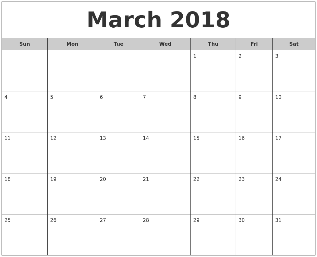 March 2018 Free Monthly Calendar