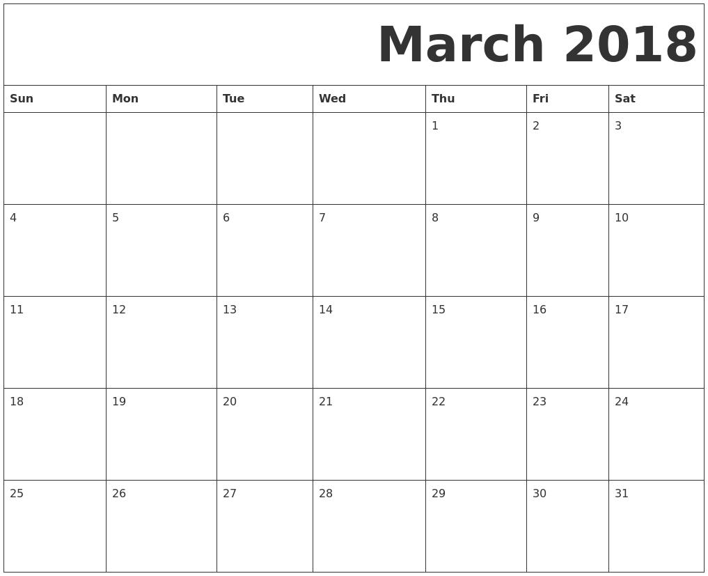 march 2018 free printable calendar